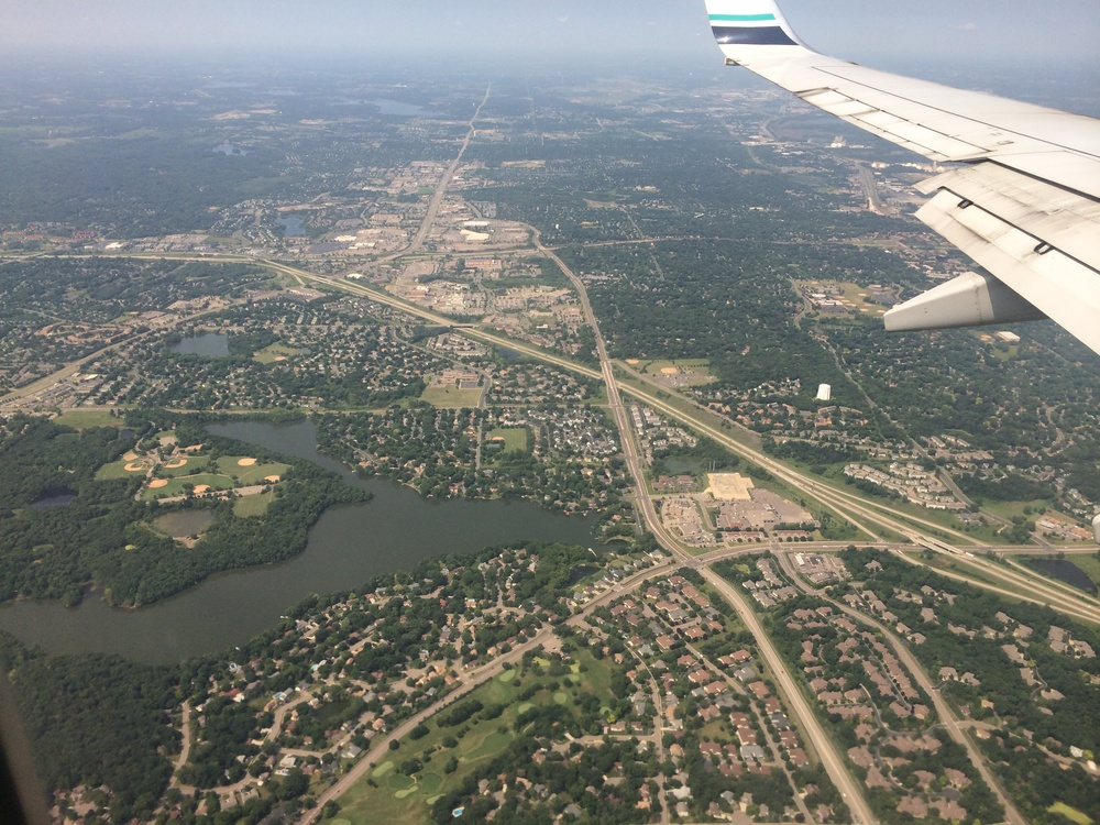 Flying into Minneapolis...with a few lakes in view.