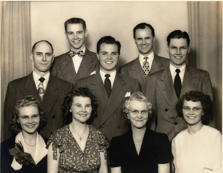 The Olaf Stenberg family after the war, circa 1948, after Grandpa had passed away. Top Row: Osborn and Odin Kenneth, Middle Row: Harold, Ralph, and Vernon, Bottom Row: Lydia, Synnove, Signe, and Elsie Stenberg.