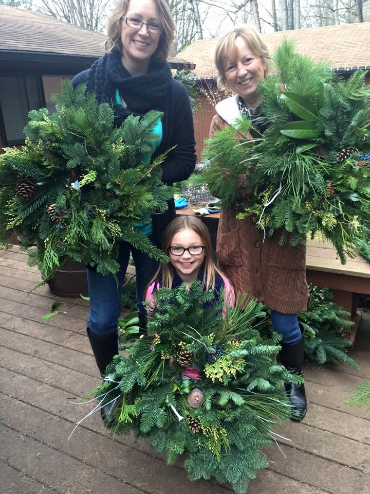 The Hansen's make wreaths as a family!