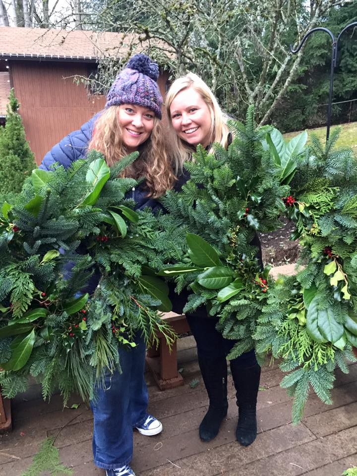 Amy and Rachel's artistry in wreath form...