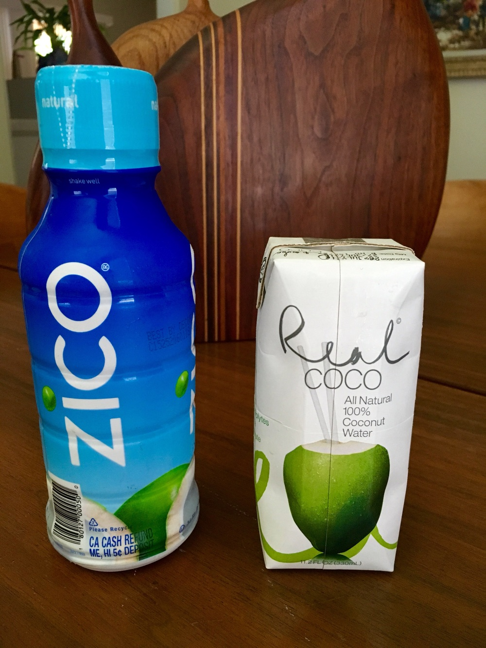 Coconut water available at most grocery or health food stores