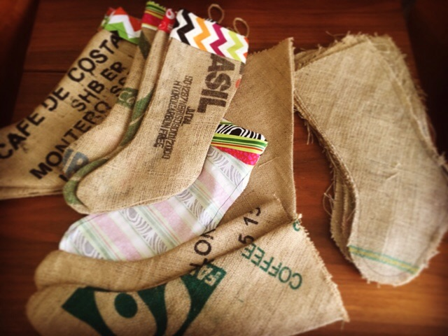 Working on coffee sack christmas stockings