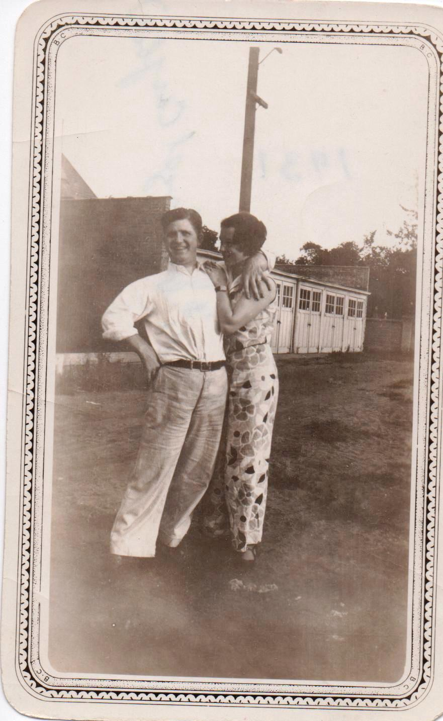 "Grandma and Grandpa Swinford circa 1931    And he whispered, as they  driv  t    ords the country, ""Now we'll live!""--"