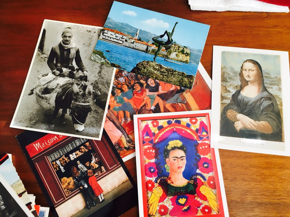 Samples of some of the postcards. Love the Frida one.