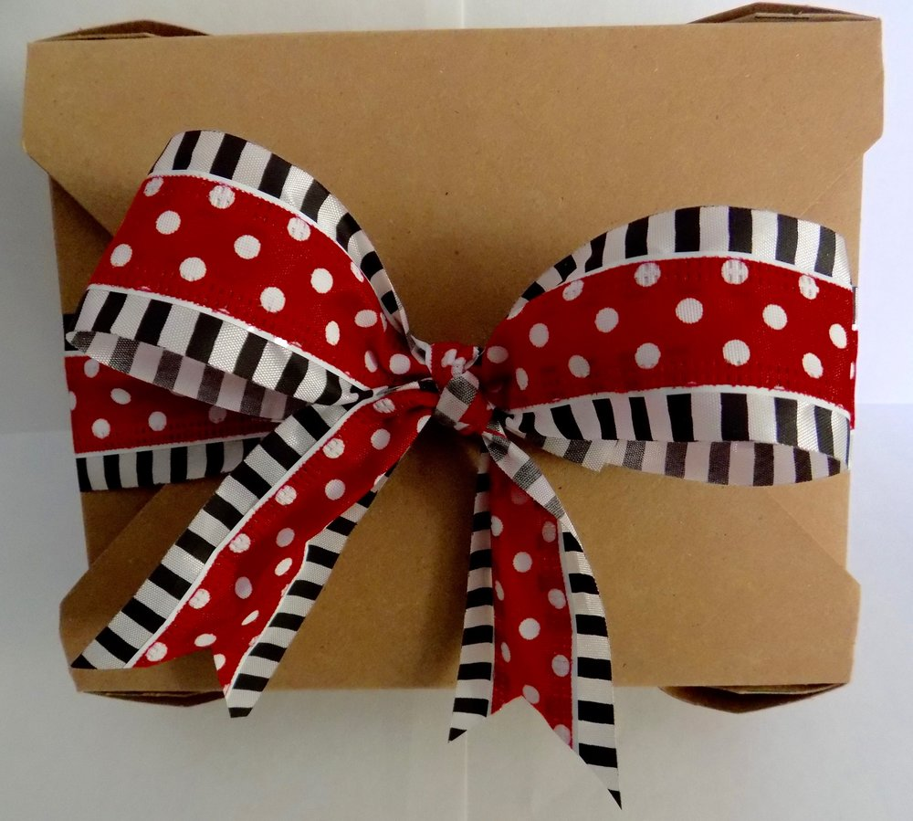 Kraft box with festive ribbon