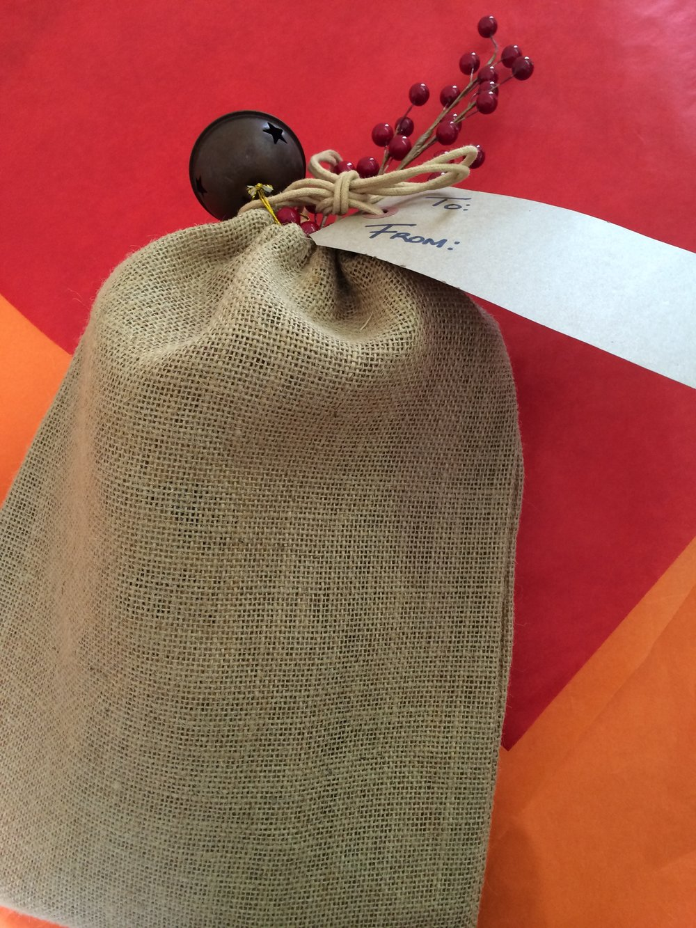 Coffee wrap in burlap for client gifts