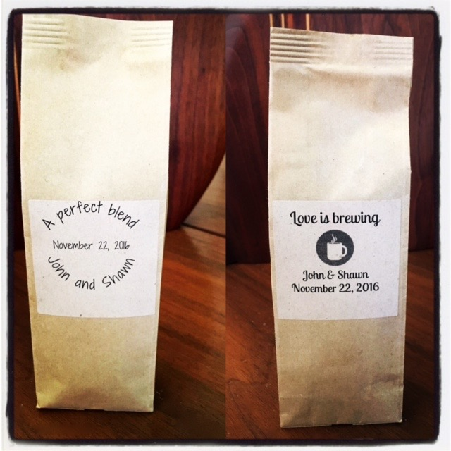 Mini coffee bag samples for wedding