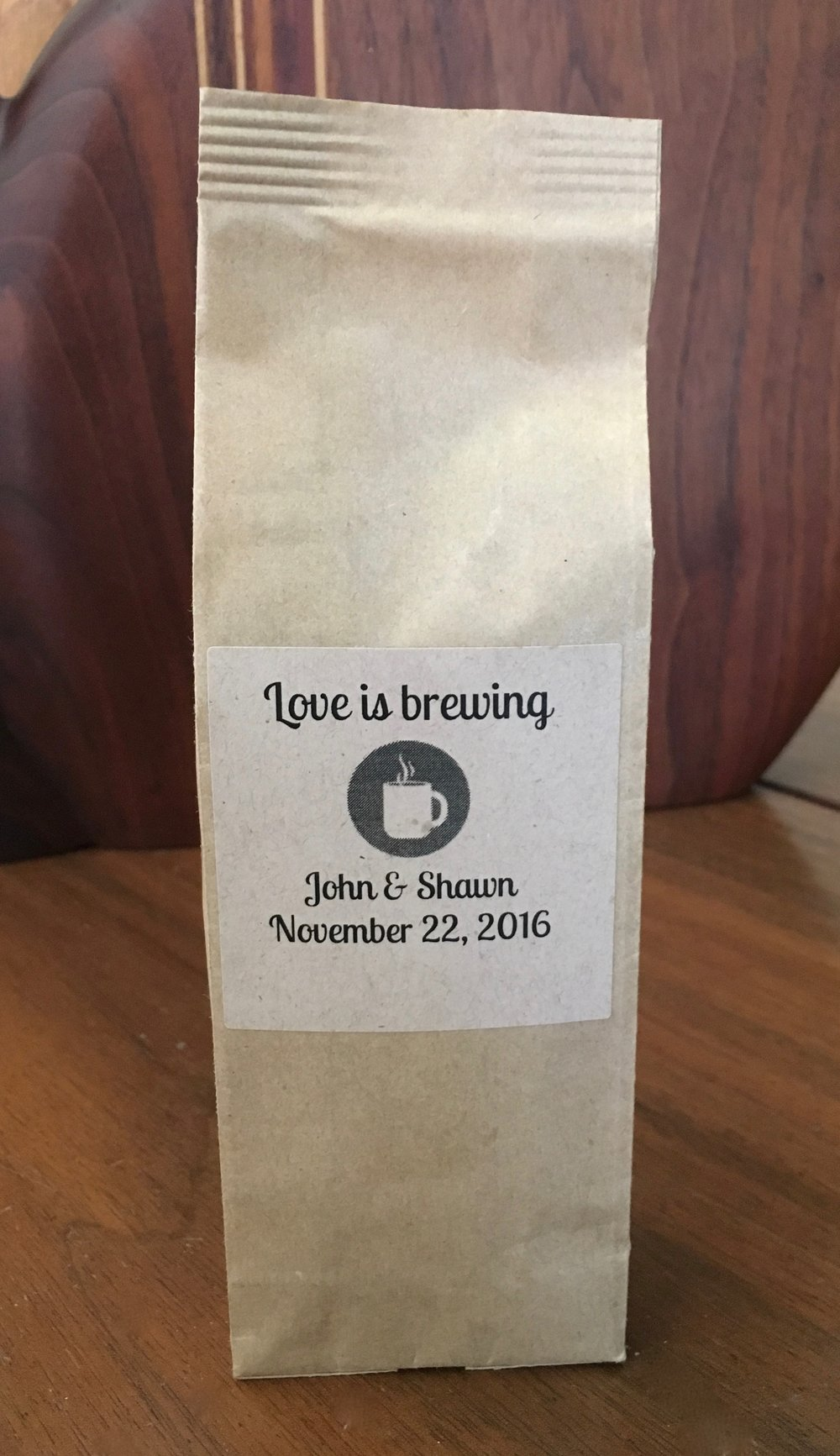 Sample of coffee mini sack wedding favor