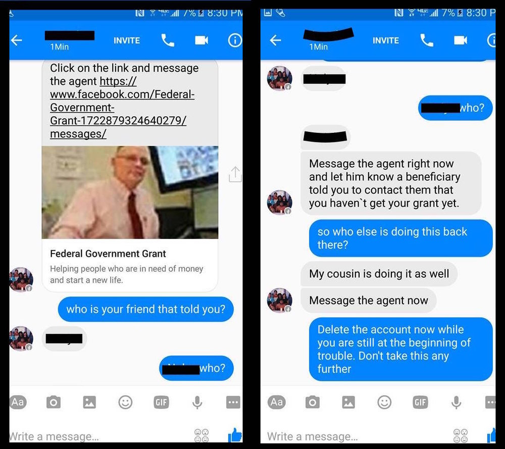 The catfisher (gray text) attempting to trick a victim (blue text) with a fake Facebook profile using a relative's name and picture.