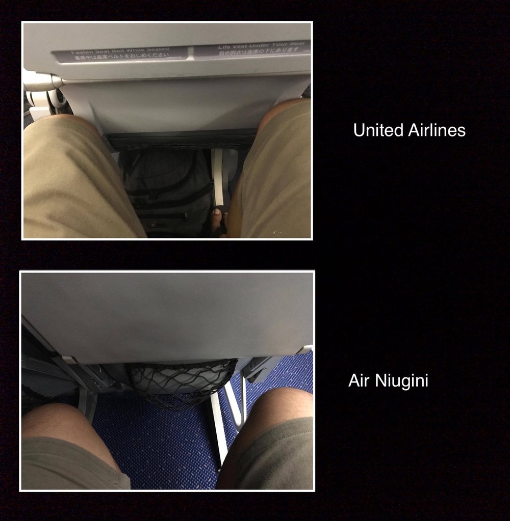 Extra leg room on Air Niugini always welcome.