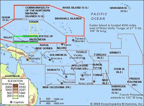 Depending on how Chuuk negotiates with the FSM, an independent Chuuk may become sandwiched inside a US controlled Micronesia, with international waters to the south. Chuuk may also become one of the smallest countries in the Pacific.  (Red lines mark US controlled waters, yellow lines depict what an independent Chuuk may look like. Green lines mark international waters).