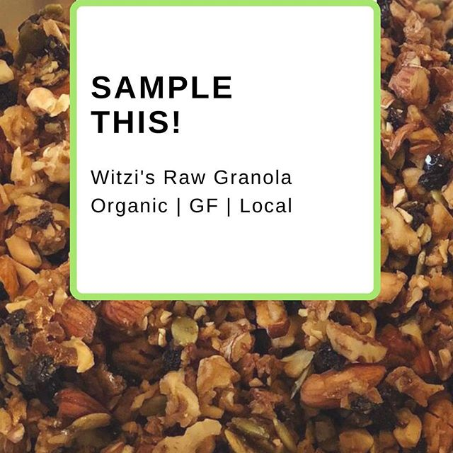 Get a taste of the goodness! Sample Witzi's Raw Granola tomorrow morning, Saturday Sept. 1st @ the Studio! With potassium, protein, calcium, and iron, it's the perfect snack for your busy days. 🚴‍♀️🏃‍♀️