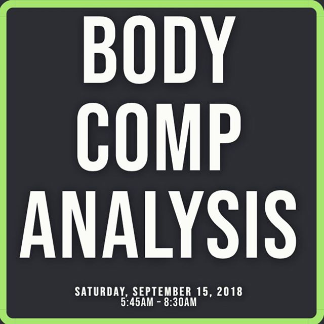 Test your body composition this Saturday, Sept. 15th 5:45am - 8:30am. Body comp analysis gives you a complete work-up of your lean body mass, fat mass, BMI, tissue hydration, and more.  When done regularly, body comp analysis allows you to track your progress in building lean body mass! 💪 Cost is $20, cash or check payable to Onsite Wellness.  Reserve your desired time at info@rideandworkout.com