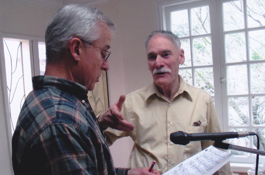 "Photo credit: Fred Pihl ""Richard L. Crocker and Hunter Hensley recording the Archive"""