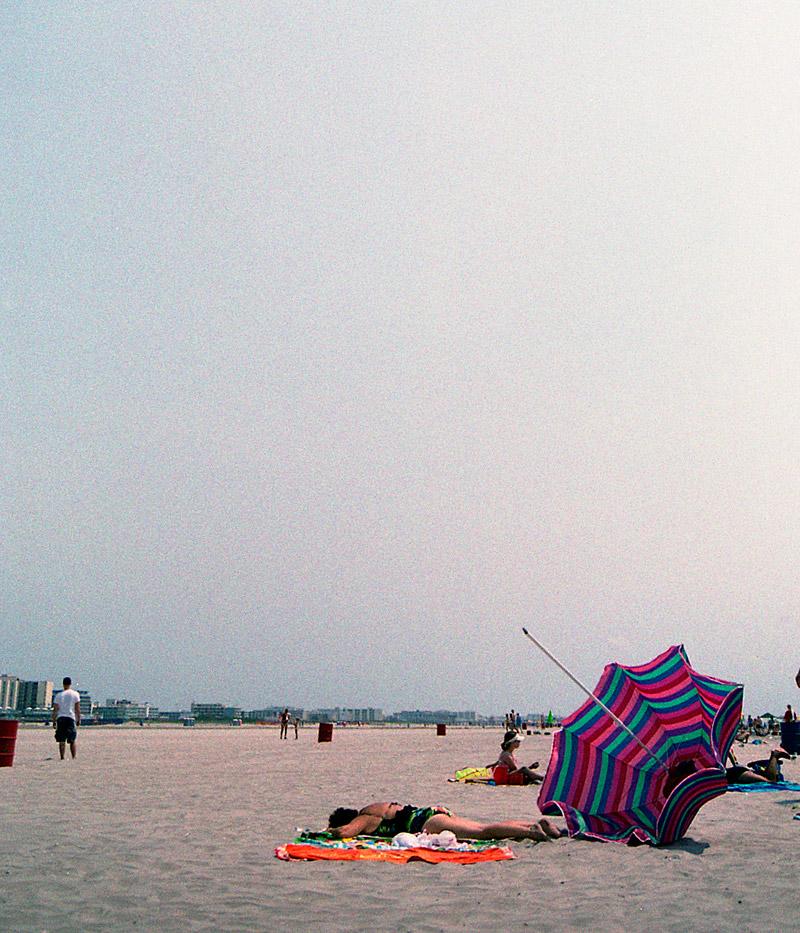 Sunbathing without shade.    Wildwood, NJ 2007