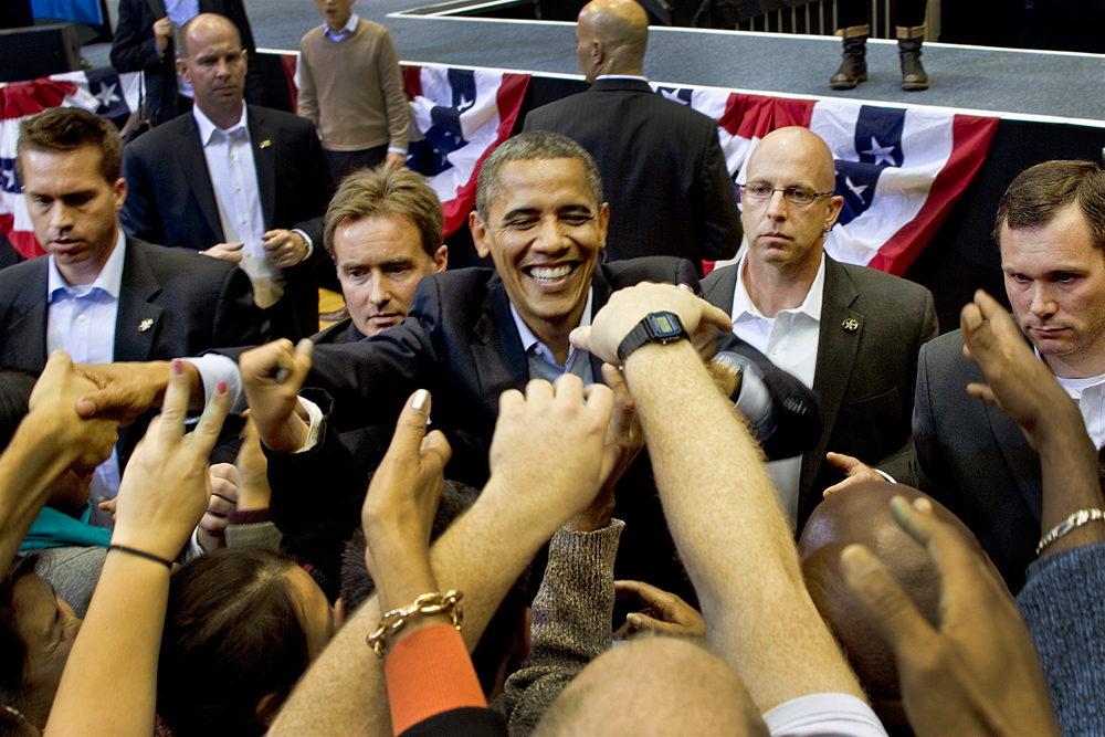 A well guarded president greets the crowd.     Cincinnati, OH 2012