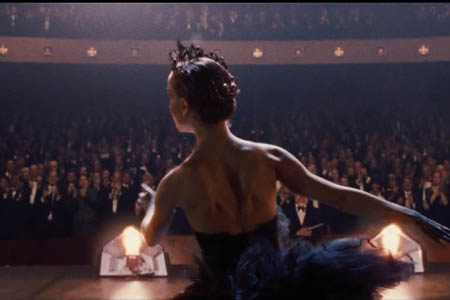 Natalie Portman as the Black Swan on Stage