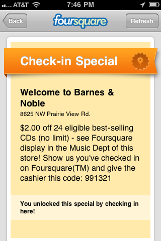 Offer for Barnes & Noble on Foursquare