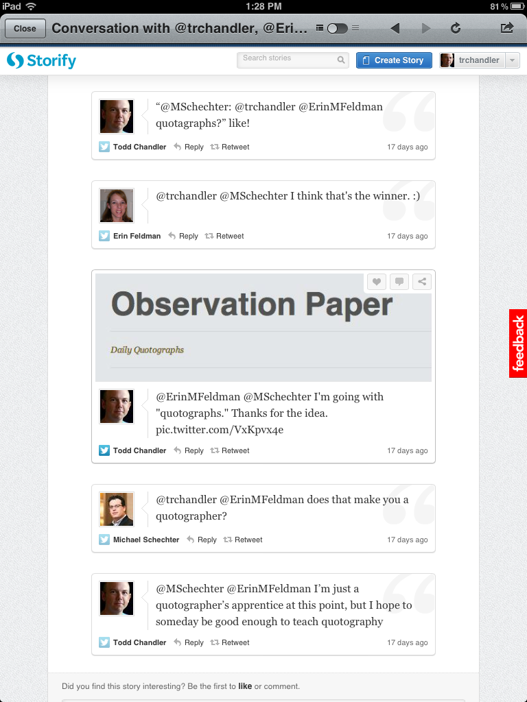 Twitter conversation to come up with the tag quotograph