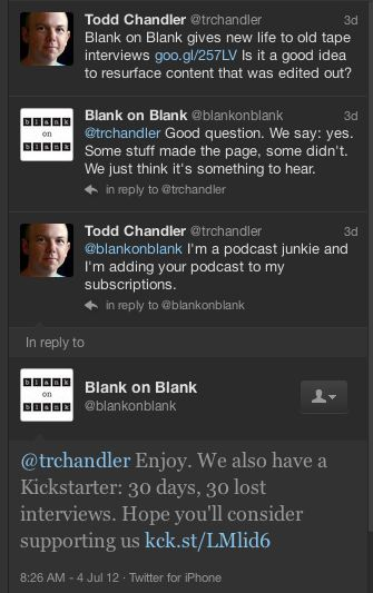 Twitter conversation with Blank on Blank
