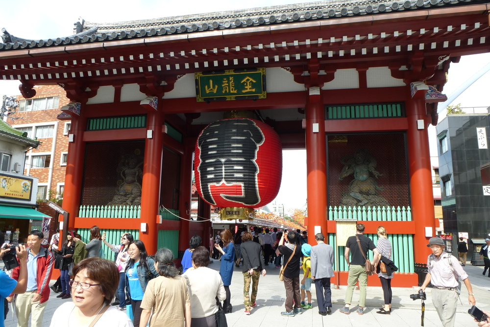 Kaminarimon is the first of two large entrance gates leading to Sensoji Temple.