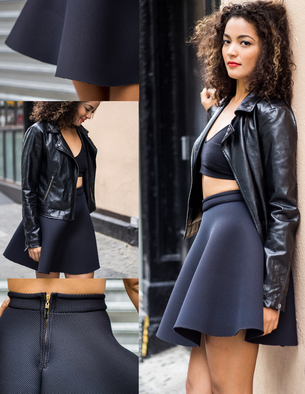 Black Textured Neoprene Skirt