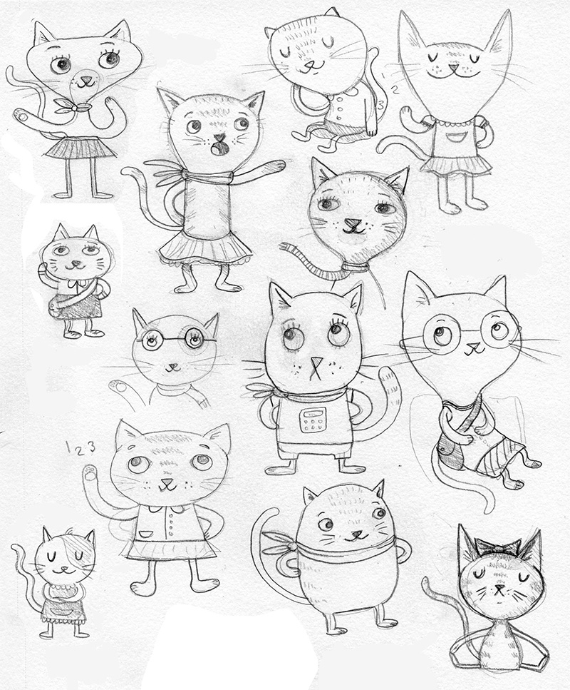 Just a couple of cats here. Working on character designs for a new picture book idea. She's the main character, and once I settle in on her, she has LOTS of little kitten siblings I need to imagine up too.