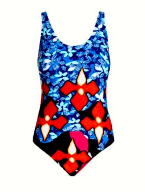 One-Piece Swimsuit in Red Iris Print, $34.99