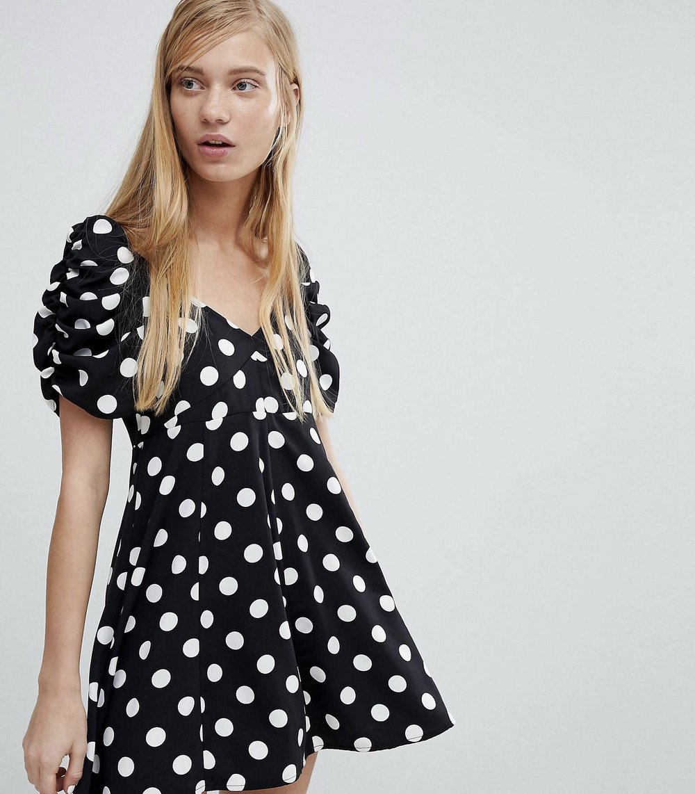 Polka dot dress, Monki, $19.  Find it  here .