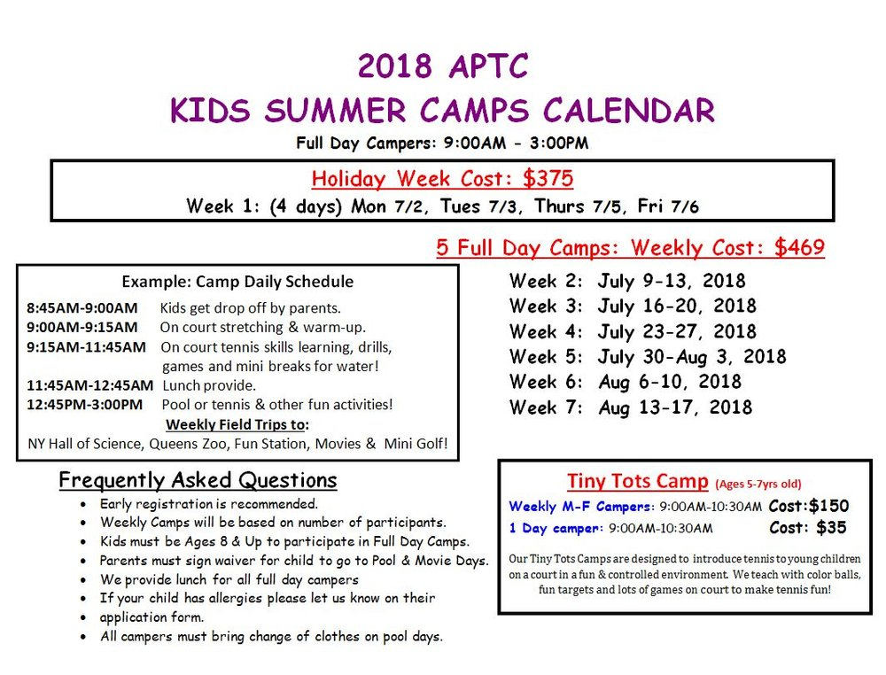 2018 Kids Summer Camp Schedule.JPG