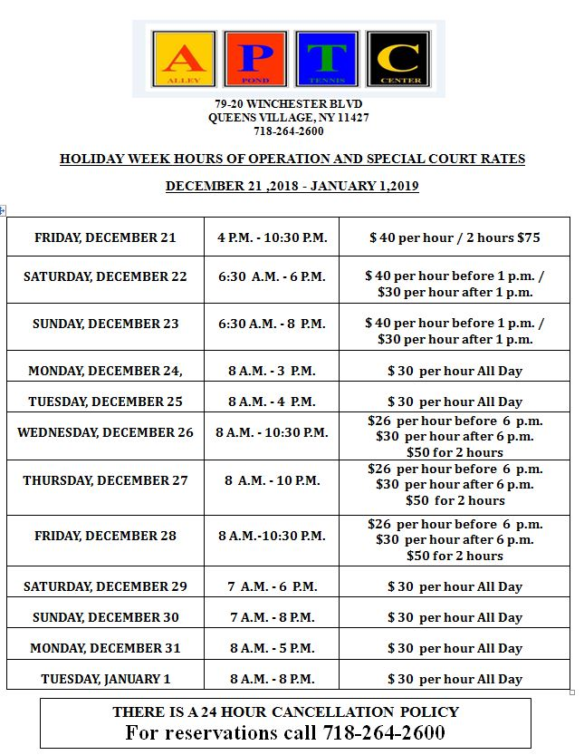 Revised Holiday Court Rates.JPG
