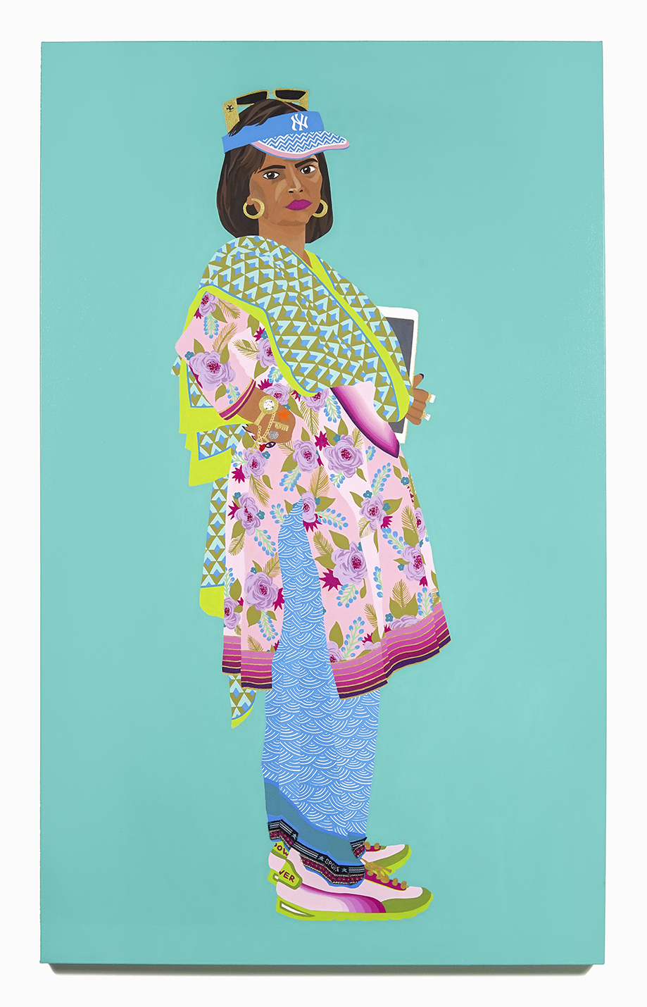 2016. Pinky Aunty   (   Upping the Aunty  series)   Acrylic, fabric and crystal on canvas   36 in. x 60 in.    Pinky Aunty kicks ass with powder pink Bata Power sneakers paired with Hiroshige-inspired Japanese sport-styled patiala salwar. She tops this with a rose garden floral kameez and contemporary-chic diamond-patterned chuni. Large rocks on her fingers, branded Versace-look sunglasses perched above her NY Yankees visor round off her urban flair.    Private Collection