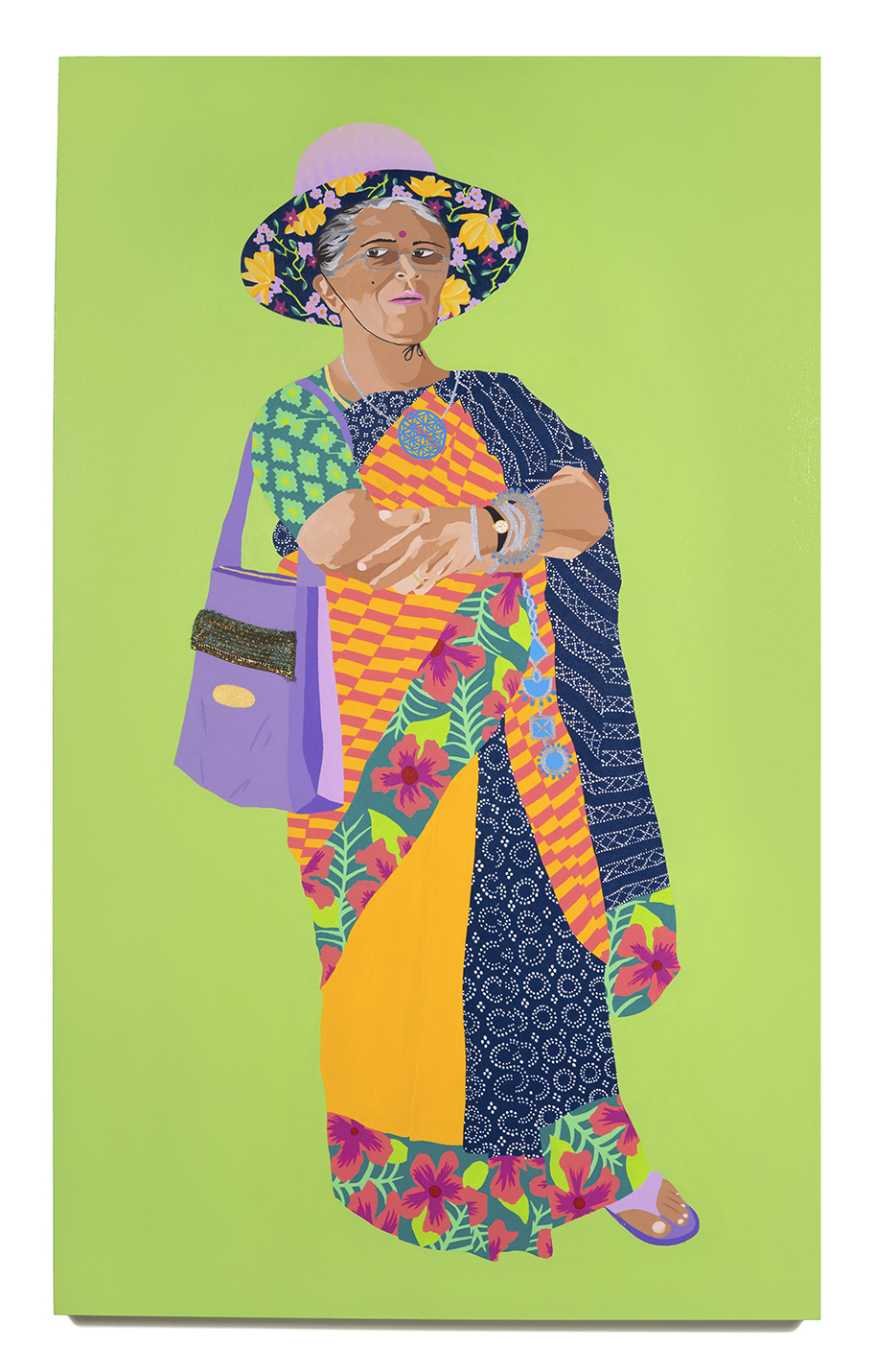 2016. Gunalaxsmi Aunty   (  Upping the Aunty   series)   Acrylic and fabric on canvas   36 in. x 60 in.   Gunalaxsmi Aunty wears a wide-brimed floral lined sun hat with a Hawaii'n bordered striped sari with bhandani pallu. Her antique silver jewellery and flower of life pendant suggest a well-rounded intellectualism.     Private Collection