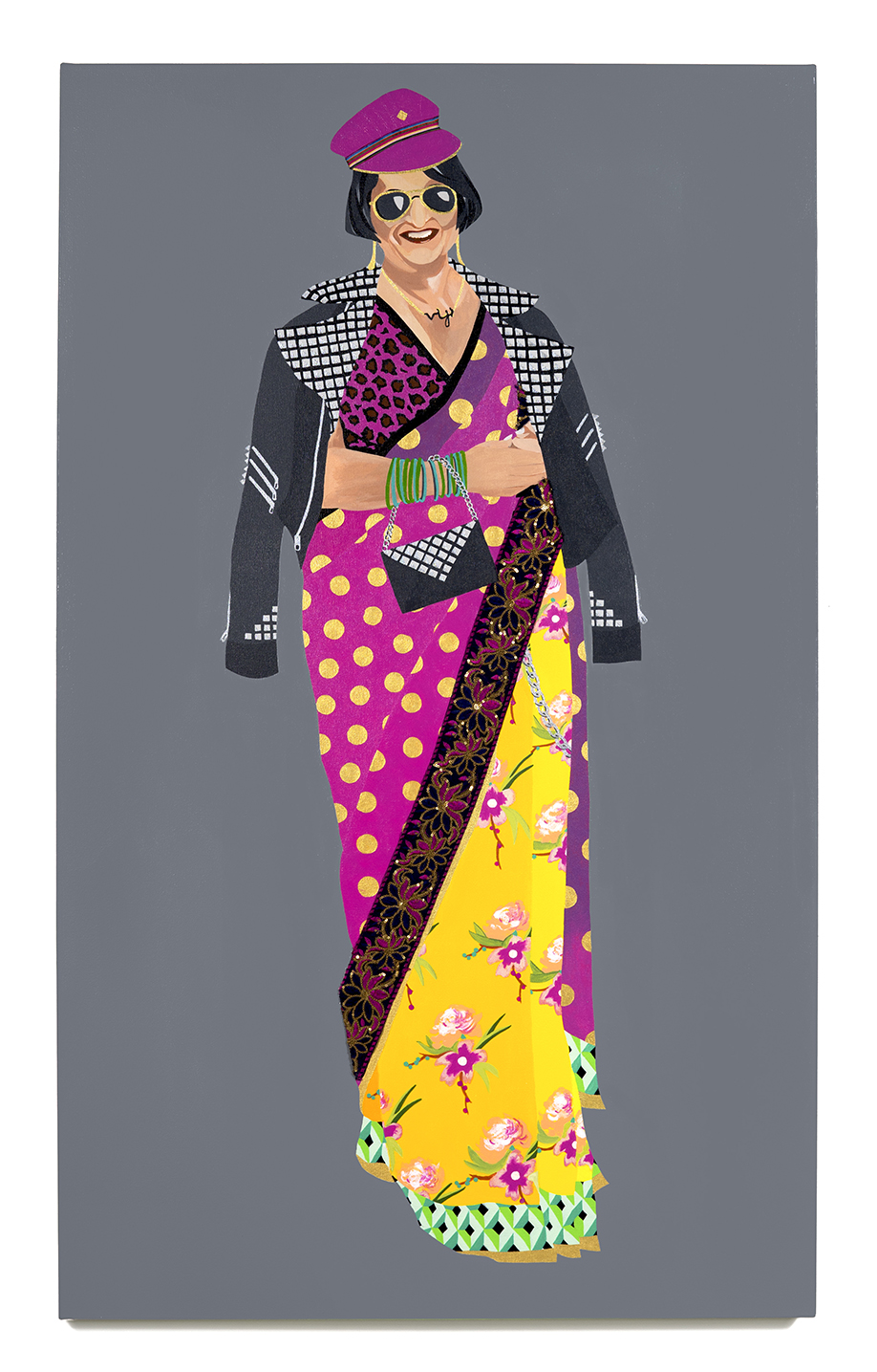 2016. Viji Aunty   (  Upping the Aunty   series)   Acrylic and fabric on canvas   36 in. x 60 in.   iji Aunty wears a studded biker jacket with matching clutch. Her fuchsia leopard print blouse successfully contrasts with the multi-patterned sari hand-embroidered with gold-threaded polka dots. She tops it off with aviators and a cap that makes a statement in kitschy Camp.   Private Collection