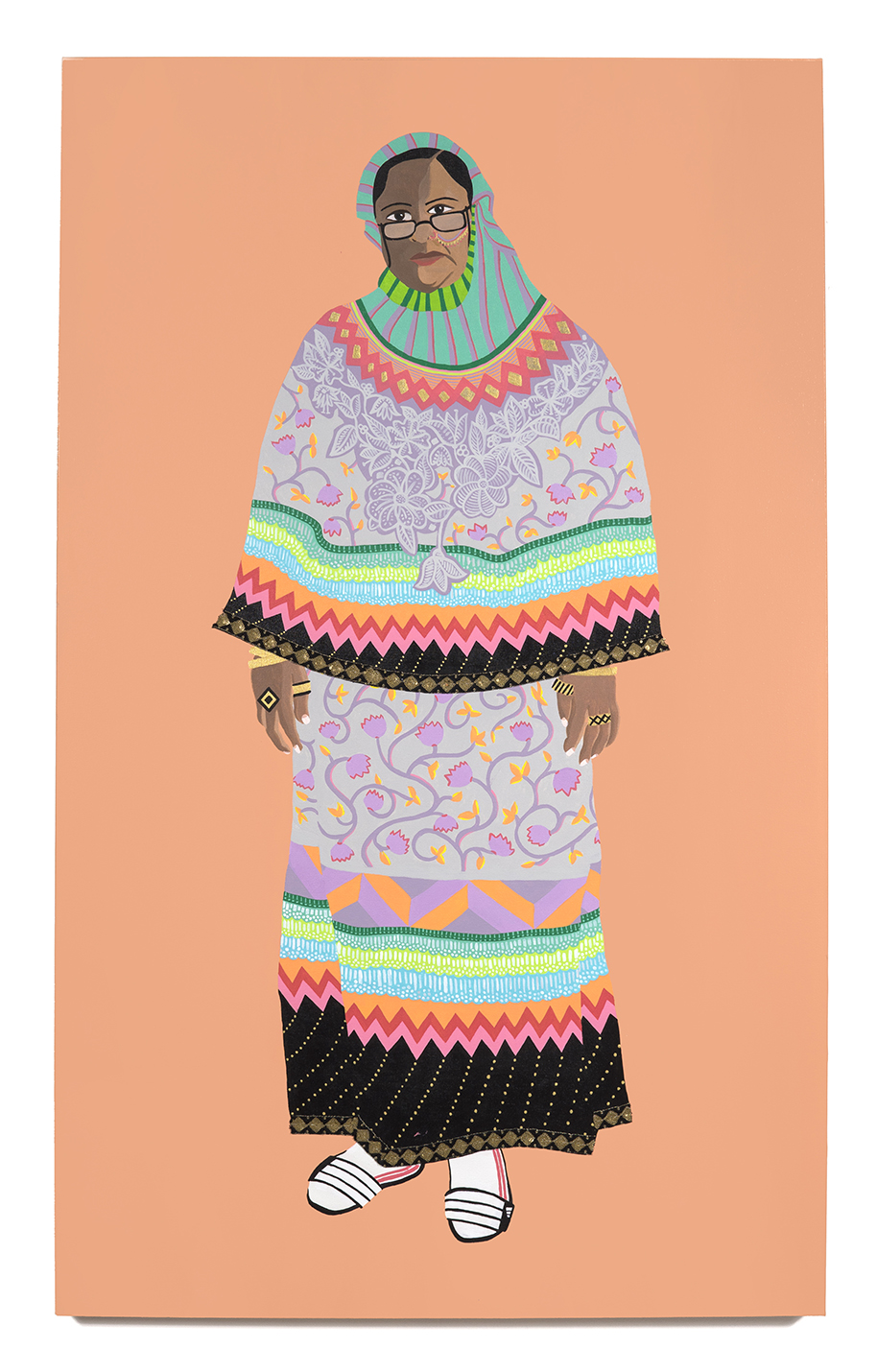 2016. Rashida Aunty   (  Upping the Aunty   series)   Acrylic and fabric on canvas   36 in. x 60 in.    Rashida Aunty wears a delicate hand-embroidered rida with lace and Mukesh work throughout. The contrasting striped pardi is folded away from the face. She pulls the outfit together with lightweight Adidas slippers and white sport socks for cooler days.     Available