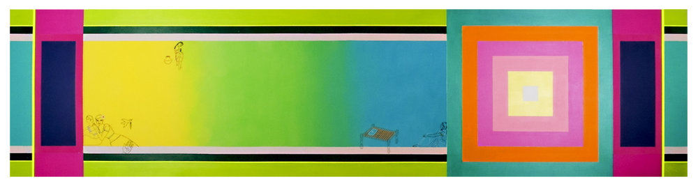 2011. Hold Me Close (Sariscape series) Acrylic and thread on canvas, 180 in. x 44 in.