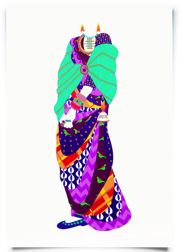 2010. Tamana   (  Firangi Rang Barangi   series)   Acrylic, ink and pencil on paper   27 in. x 60 in.   Wearing a multi-layered gown inspired by the maxi, Tamana create a style statement with layers of pattern history. Her ambi brooch and sari keychain suggest a knack for repurposing classic accessories in a bold new way.  Private Collection