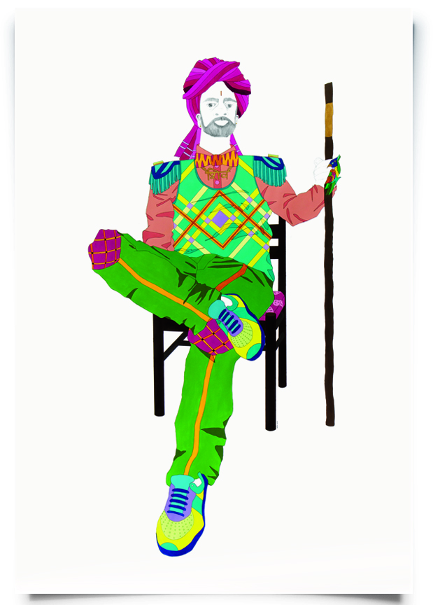 2012. Shiva   (  Firangi Rang Barangi   series)   Acrylic and pencil on paper   Approx. 34 in. x 58 in.    Shiva combines a Rajasthani turban and shoulder embellishments inspired by Indian marching bands with an argyle vest. An animal print bow tie pays homage to the deity after whom he is named.   Private Collection