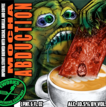 Mocha Abduction Imperial Stout brewed with Dark Matter Coffee, cacao nib, and vanilla 10.5% ABV