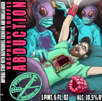 Raspberry Truffle Abduction Imperial Stout brewed with raspberries, chocolate, and vanilla