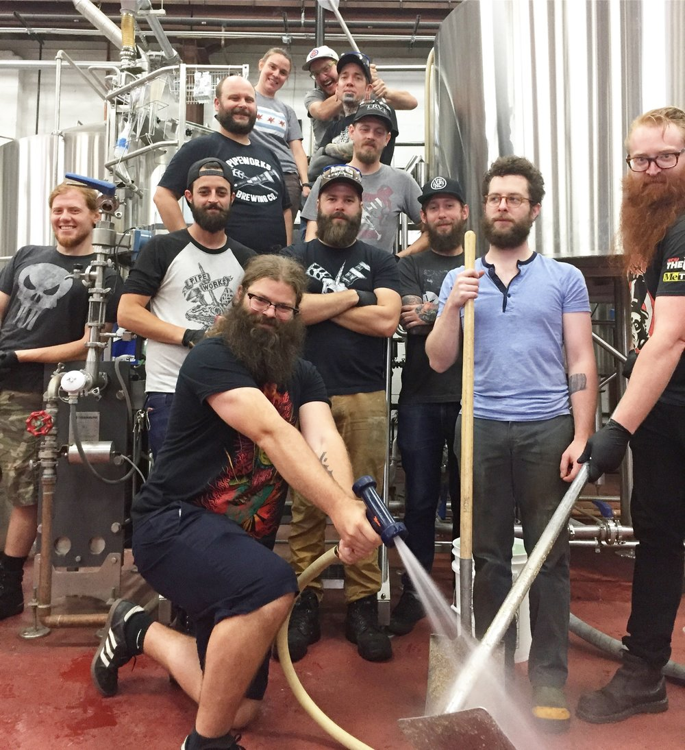 Alexi (front and center) and PW crew on brew day of Scorched Tundra IPA