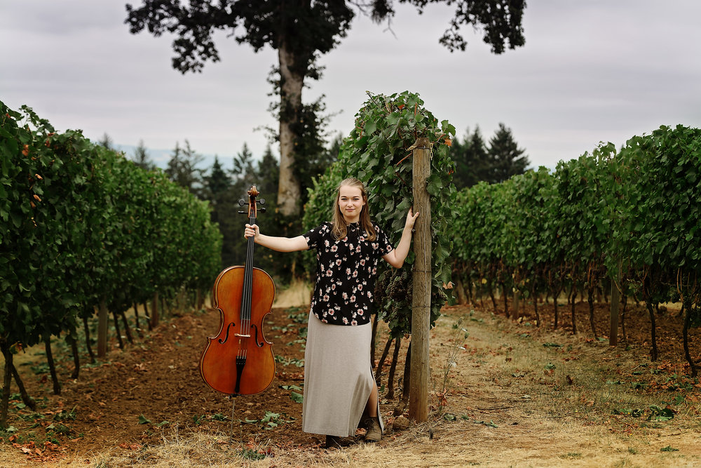 Cello Musician at Red Ridge Farms, Dundee, Oregon.