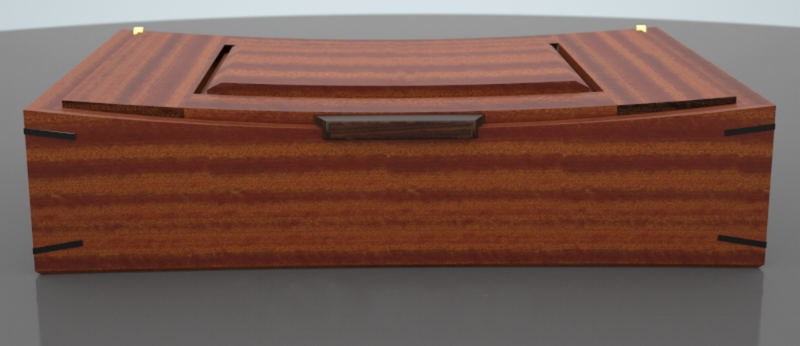3D computer model of a sapele & walnut wooden box