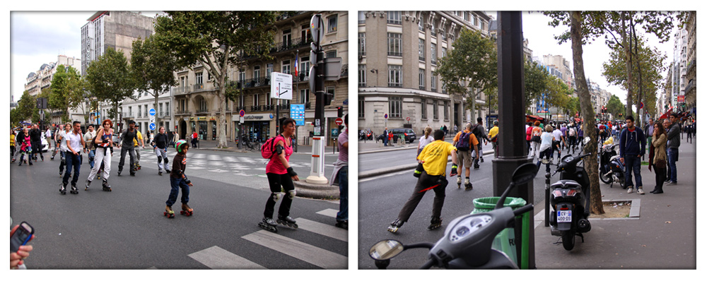 Wicked cool rollerblading marathon in Montparnasse.