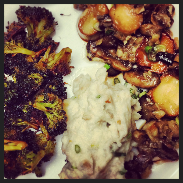 roasted broccoli + smoked salmon mashed potatoes + faux scallops