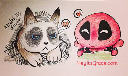 Sketch Daily - Grumpy Cat (with a cameo from Deadpool)