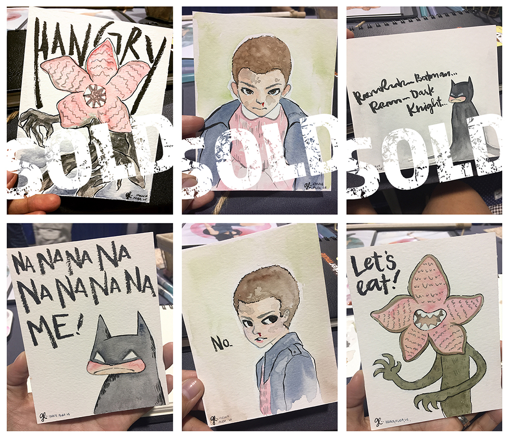 Some mini originals I painted on-site.  I'll be putting the bottom 3 and a few more in my store soon! SOOOONNNN!!!