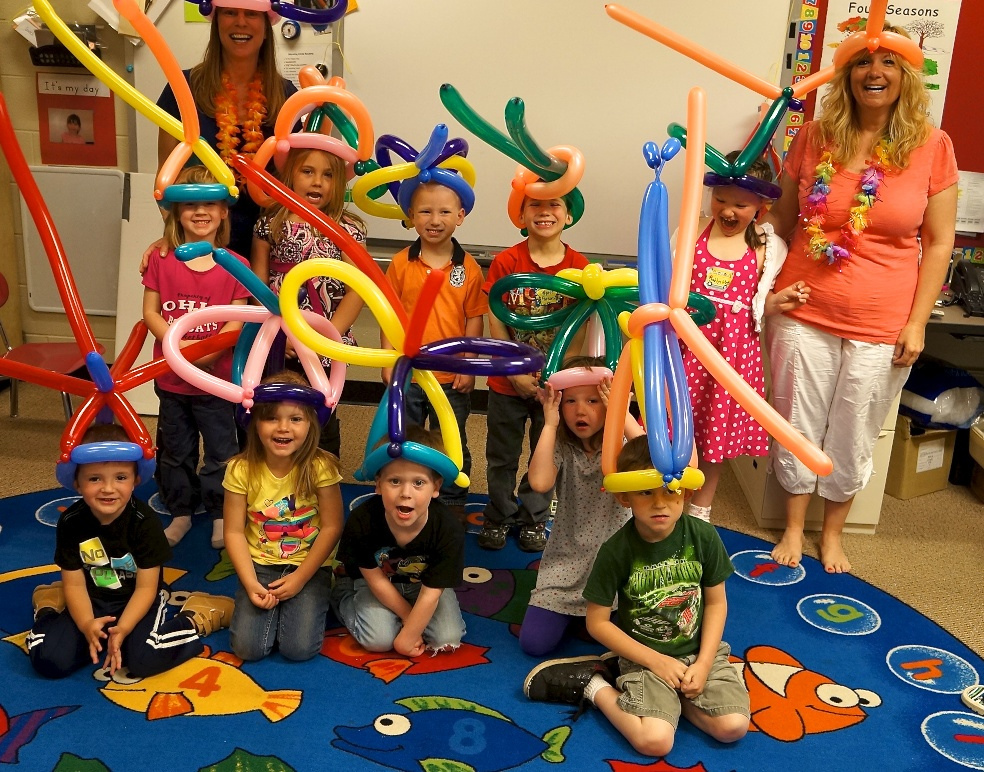 Celebration Day/last day of the residency: Balloon hats all around!!