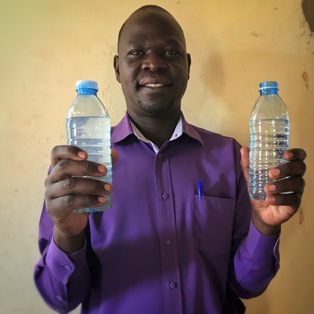 Deciding what appropriate technology we need to use for each specific location is critical in truly meeting the needs of the people we serve.  the design phase leads our team towards the best solution available.  This picture shows a pastor holding up surface water in both it's pre-filtered and post-filtered state.