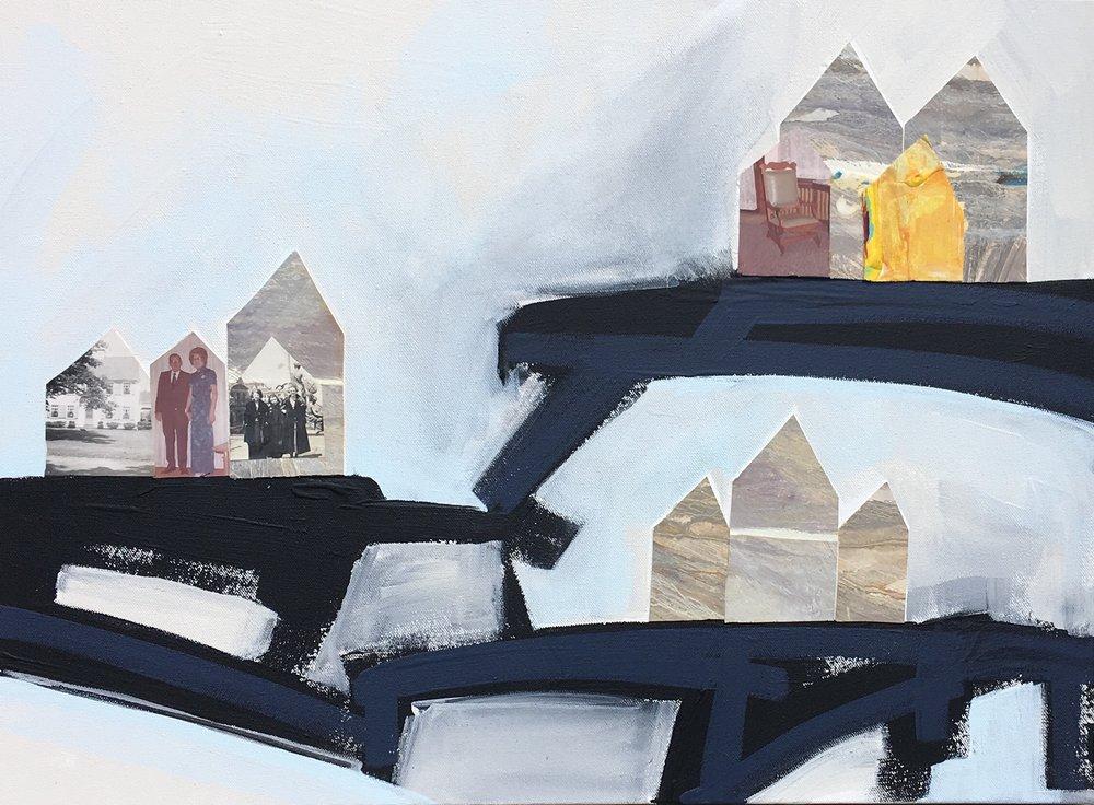 Blue Bridges  Collage on Canvas  18 x 24